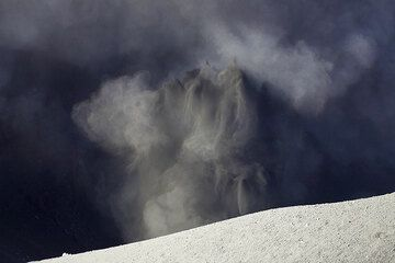 Eruptions jetting into the ash clouds already obscuring the crater.  (Photo: Tom Pfeiffer)
