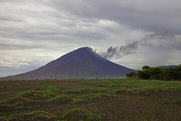 Weakly smoking Lengai volcano seen from the plain of the Rift Valley near Lake Natron. (Photo: Tom Pfeiffer)