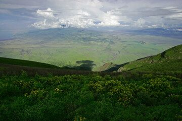 Looking down from the crater rim onto the plain of the Rift Valley (Photo: Tom Pfeiffer)