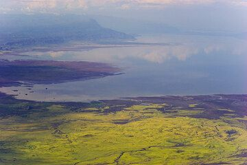 Lake Natron and the Rift Valley escarpment seen from the top of Lengai (Photo: Tom Pfeiffer)