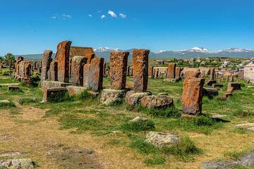 Noratus cementary, one of the most important historical sites of Armenia. Originating from the 10th century, it has the largest cluster of khachkars (ornamented stele) in Armenia, which display the artistic evolution of various styles throughout the centuries. (Photo: Tom Pfeiffer)