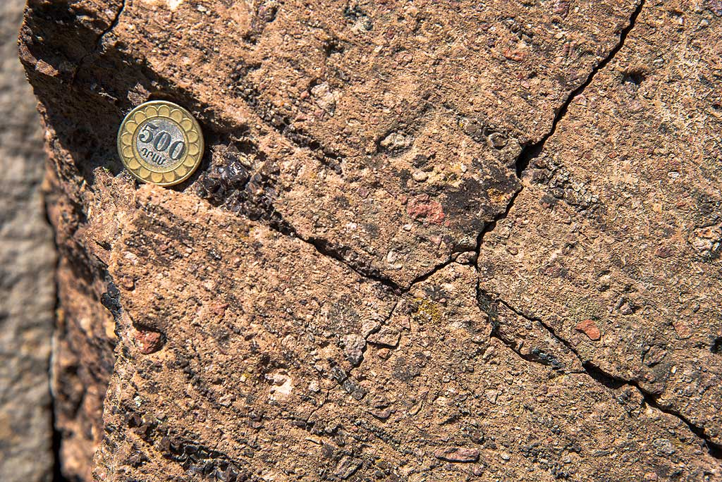 Detail of the welded ignimbrite with obsidian flakes (Photo: Tom Pfeiffer)