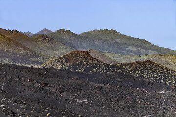 The lava flows of Teneguia volcano and the Cumbre Viejo volcanoes on La Palma island. (Photo: Tobias Schorr)