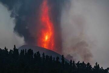 The lava fountain with ash emission in the morning (Photo: Tom Pfeiffer)