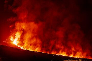 The lava flow quickly advances and now is probably 2 km long. (Photo: Tom Pfeiffer)