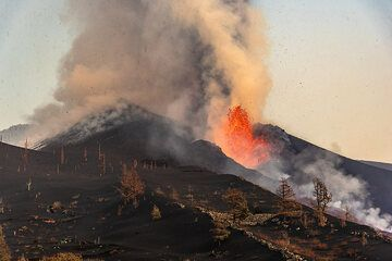 Lava fountain and ash emissions at the cone seen from northwest. (Photo: Tom Pfeiffer)