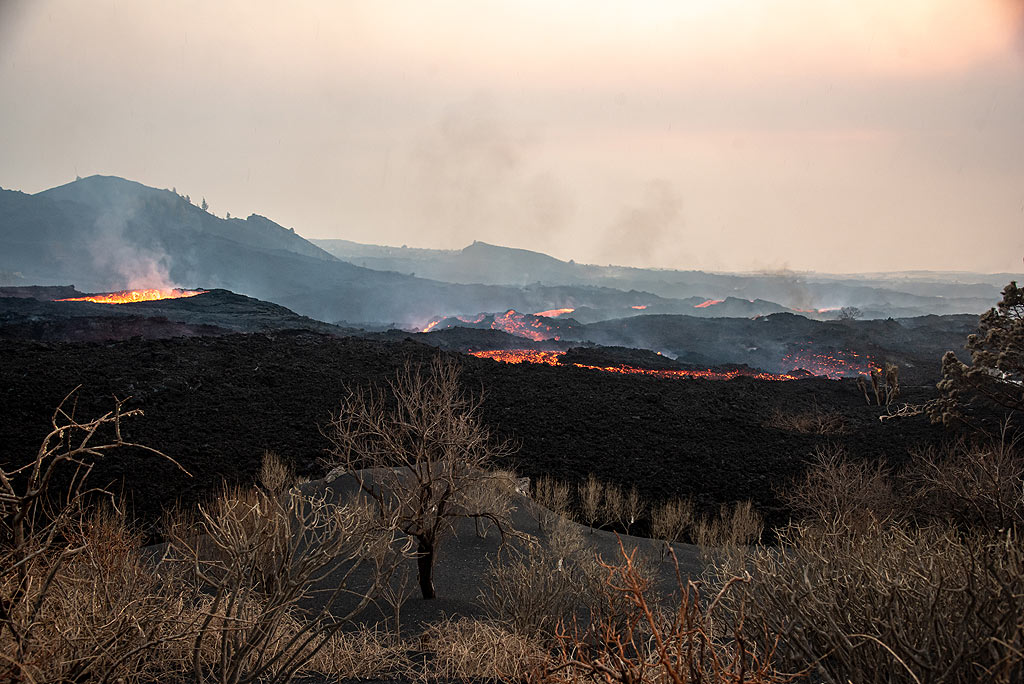 View downhill along the lava flows. (Photo: Tom Pfeiffer)