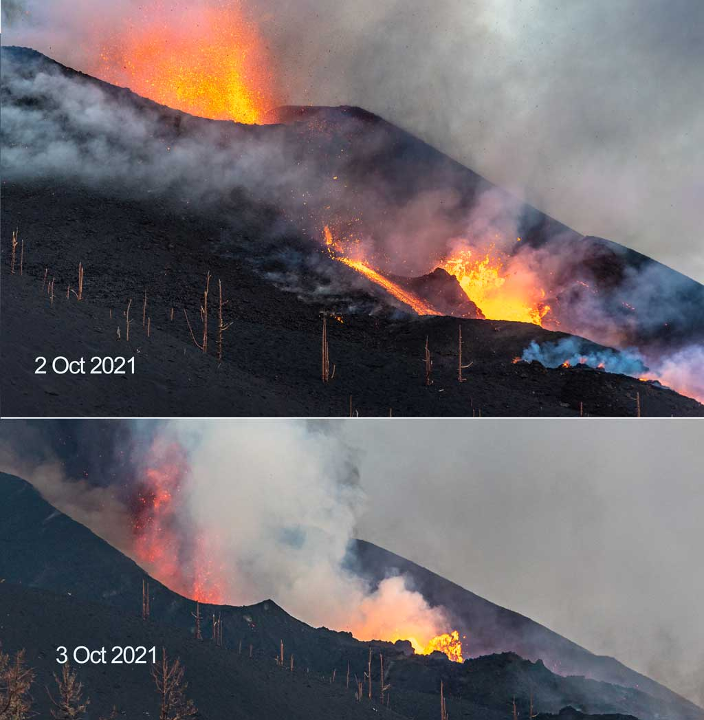Comparison of roughly similar views from 2 and 3 Oct afternoon, showing the now missing northwestern upper crater wall (above) and the new crater valley (below) inside which now both the summit vents and the flank vents are located. (Photo: Tom Pfeiffer)