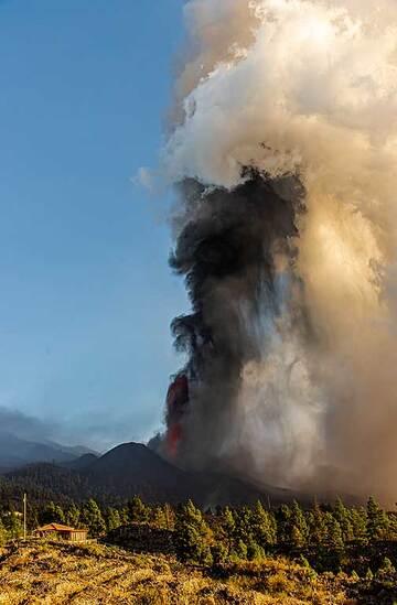 Ash column rising near vertically (Photo: Tom Pfeiffer)