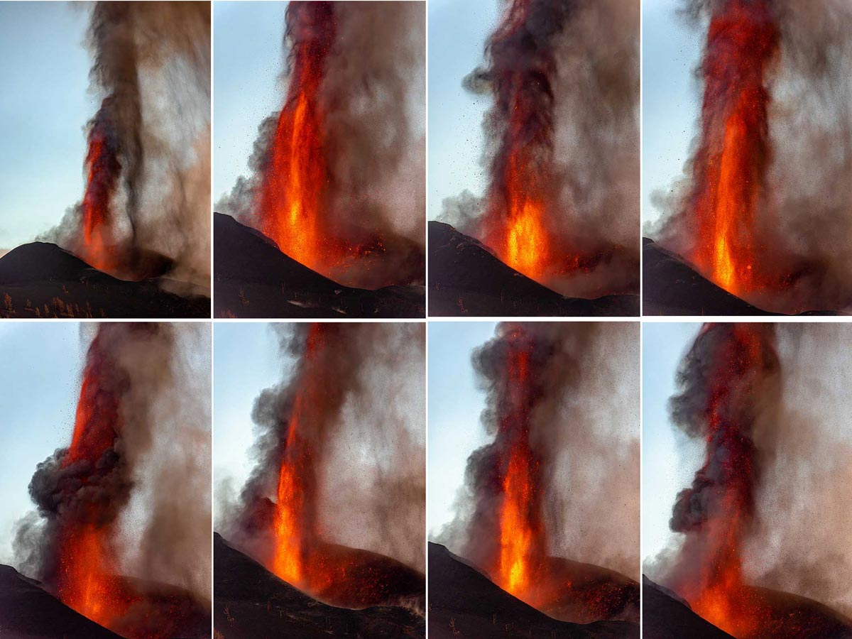 Collection of lava fountains at sunset. (c)