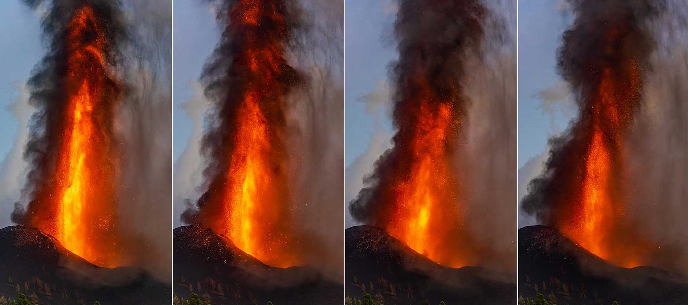 Collection of lava fountains in the blue hour (c)