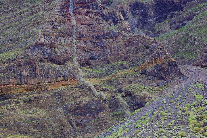 A large exposed ancient volcanic dyke in the collapse wall of El Golfo and a debris avalanche deposit from a prominent erosion ravine. A landslide leaving from this ravine (forming most of the deposit visible in this picture) destroyed the Bambiches aboriginal village of Guinea village. Today, part of the village has been reconstructed as a museum (Ecomuseo de Guinea) and a protection & breeding center of a subspecies of the re-discovered endemic, and now extinct giant lizard (galliota simonyi), the Lagatario, was built here. (Photo: Tom Pfeiffer)