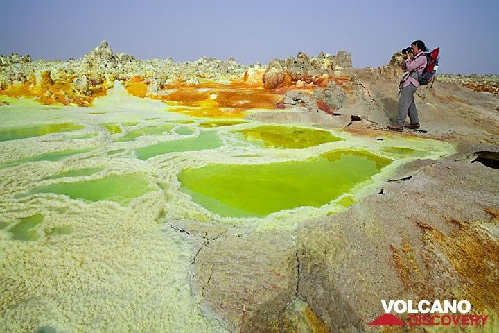 Green and yellow salt ponds at Dallol (Photo: Tom Pfeiffer)