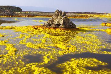 Sales de azufre amarillo estanques, verde ácido lagos, Torres, sal géiseres, negros y rojos - Dallol es quizás el más ajeno y extraño paisaje sobre la tierra! (Photo: Tom Pfeiffer)