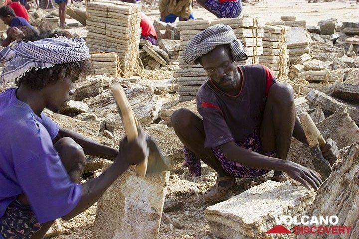 Salt cutters at work at Lake Assale. Each block should weigh precisely 7 kgs.This high-qualified work is only done by the Afar who own the lake.  (Photo: Tom Pfeiffer)