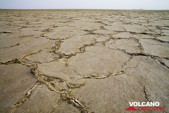 Lake Assale - a large expanse of salt which has been deposited by countless invasions from sea water. In places, the salt is 5 kilometers thick. The Afar have been extracting salt here for centuries. (Photo: Tom Pfeiffer)