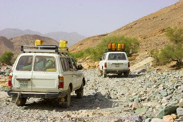 We follow the camels' way into the highlands the next morning. The road is sometimes rough. (Photo: Tom Pfeiffer)