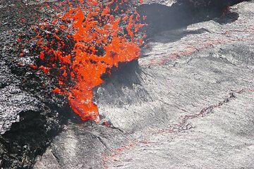 Eine Gasblase zerreißt die Kruste des Lavasees. (Photo: Tom Pfeiffer)
