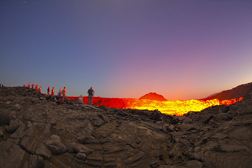 Observing the active lava lake of Erta Ale volcano, Ethiopia (Photo: Tom Pfeiffer)
