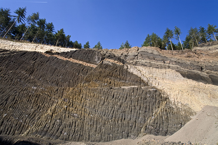 Faults in the lava layers of the Eppelsberg volcano (Photo: Tobias Schorr)