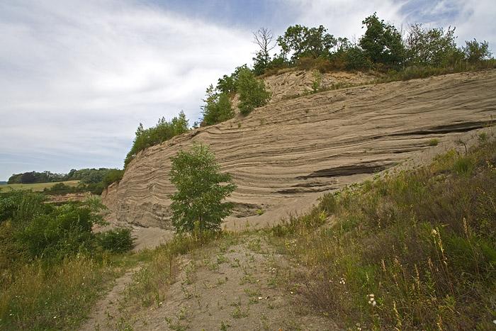 Der berühmte Steinbruch Wingertsbergwand mit Bimsschichten der Laacher See Vulkaneruption in 9900 v.Chr. (Photo: Tobias Schorr)