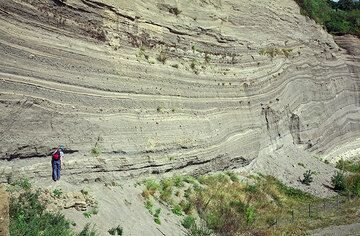 The famous Wingertsbergwand, an excellent exposure of proximal pyroclastic fall and surge deposits form the Plinian Laacher See volcano eruption 10,700 years ago (East Eifel volcanic field, Western Germany) (Photo: Tobias Schorr)