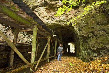 Unser Teammitglied Sabine Gebhardt-Wald vor dem Tunnel zum Steinbruch im ehm. Vulkan Arnsberg (Photo: Tobias Schorr)
