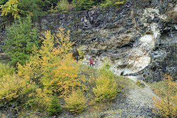 Kalkblöcke, die in der Lava des Arnsberg-Vulkans nach oben transportiert wurden. (Photo: Tobias Schorr)