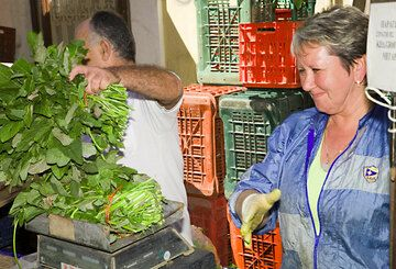 """Weighing the greens (which are steamed together into delicious """"horta"""") (c)"""