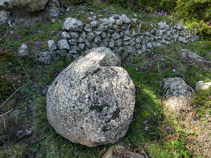 A volcanic bomb at the western part of the Makrylongos valley on Methana. (Photo: Tobias Schorr)