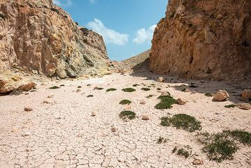 Flat, dried-mud covered central part of the Kalamos lava dome. (Photo: Tom Pfeiffer)