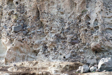 Block and ash flow pyroclastic deposit, possibly from Profitis Ilias, near Emborio (Photo: Tom Pfeiffer)