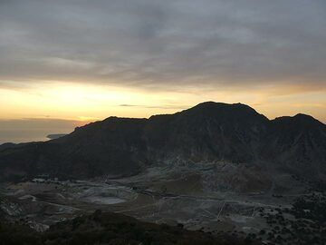 Sunset view across Nisyros´s caldera from the monastery of Agios Stavros which is perched on the rim (Photo: Ingrid Smet)