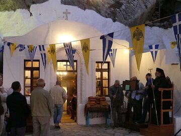 A religious ceremony starts of the celebrations at the monastery of Agios Stavros (Photo: Ingrid Smet)