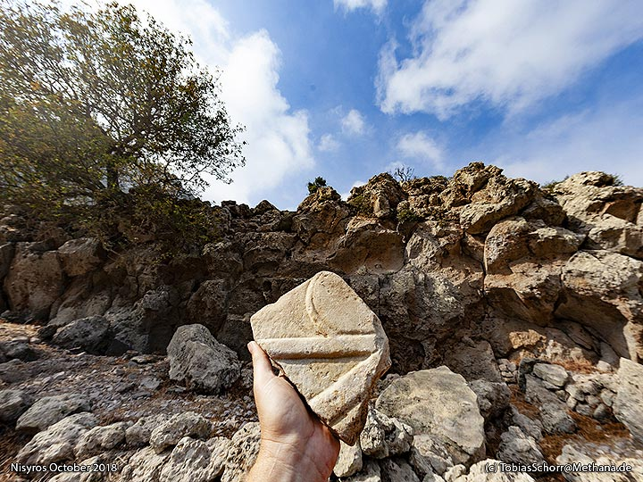 Ancient marble discovery at the Nymphios valley. (Photo: Tobias Schorr)
