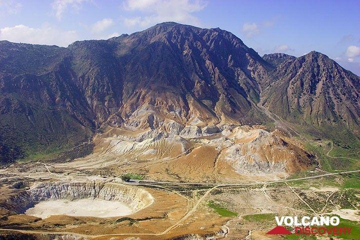 View onto the Stefanos crater and Profitis Ilias mountain. (c)