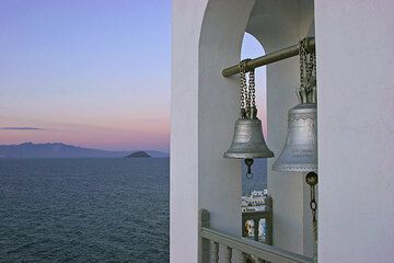 Bell tower at Agia Spiliani after sunset. (c)