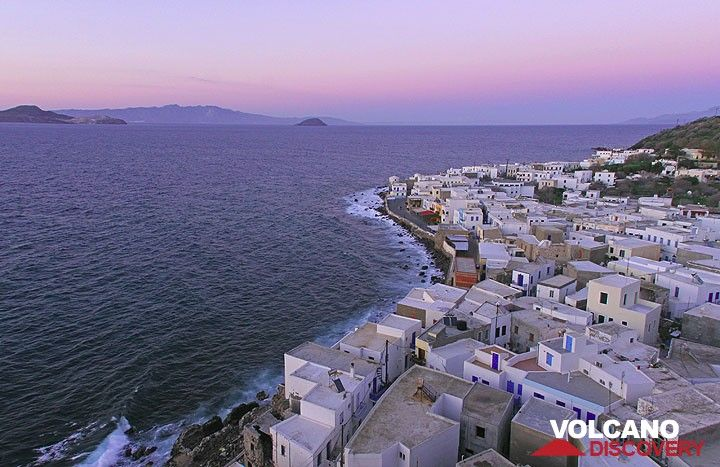 Mandraki village seen from above with the islands of Yali and Kos in the background (Photo: Tom Pfeiffer)