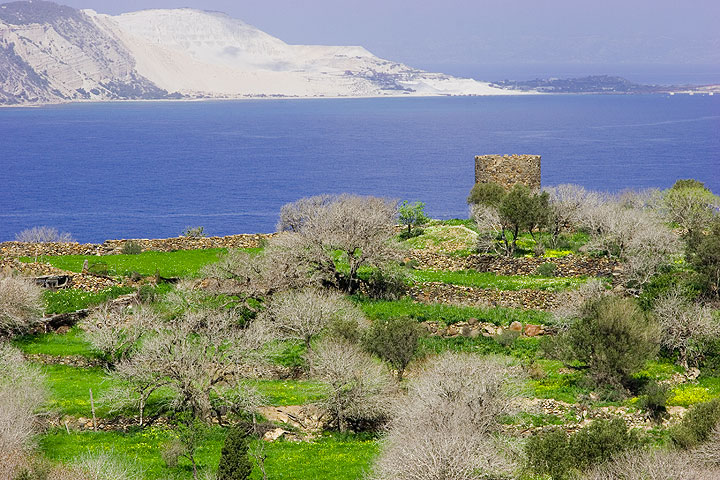 Ruins of an old windmill and the pumice quarry of Yali Island in the background. (c)