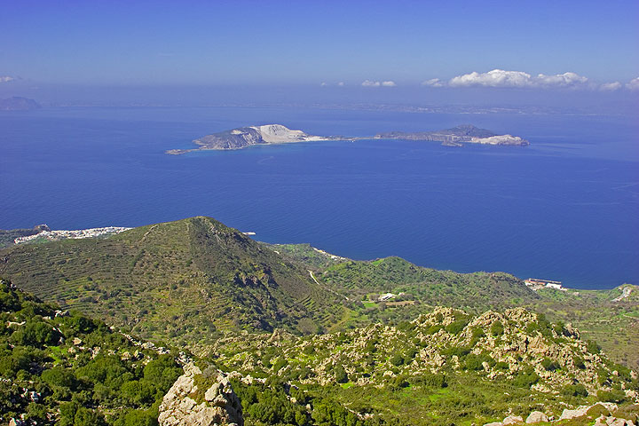 View from the top of the island. Yali, Kos and Kalymnos islands in the background. (c)