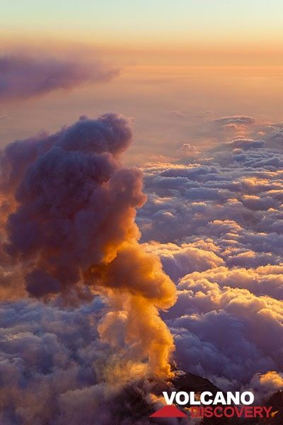 Ash eruption at sunset (Photo: Tom Pfeiffer)