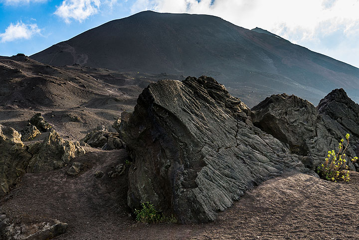 Pacaya's Mackenney cone seen from the mid 2000's pahoehoe lava field to the NE. (Photo: Tom Pfeiffer)