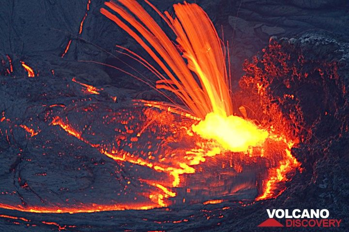 Lava spattering from a vent feeding a lava lake. (Photo: Tom Pfeiffer)