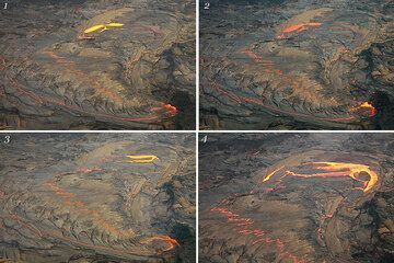 Sequence of photos showing the occasional overturning of the thin crust. The photos are spaced only few seconds apart from each other and show how the crust breaks into roughly concentric segments that overturn domino-style progressively from the inside out. (Photo: Tom Pfeiffer)