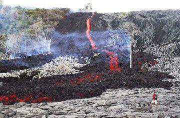 Lavaströme aus Pu'u ' O'o Vent neuesten Spalte, die begann im September ausbrechen, haben schließlich auf der Kīlauea Küstenebene erweiterte und sind zu Fuß erreichbar! Es ist ein 2-3-stündige Wanderung über sehr unebenes Gelände, in der Regel 6 Stunden Runde-Tour ab Kalapana jede Art und Weise.  5 Dez war Marken der erste Tag seit Anfang März, die Lavaströme aus nächster Nähe zugänglich sind. Für geführte Touren in die Lava, besuchen Sie bitte  VolcanoDiscovery Hawaii. (Photo: Philip Ong)
