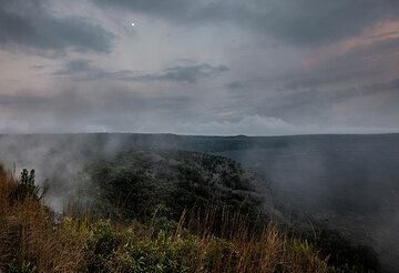Foggy conditions and cloudy skies near the northern rim of the inner summit caldera. (Photo: Tom Pfeiffer)