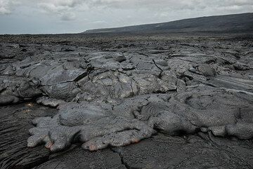 Active pahoehoe lava flow in the coastal flat about 2 km inland. (Photo: Tom Pfeiffer)