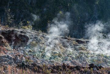 In this area, deep fractures bring volcanic gasses from the magma chamber to the surface. Containing sulfur, they leave colorful sulfur and other mineral deposits. (Photo: Tom Pfeiffer)
