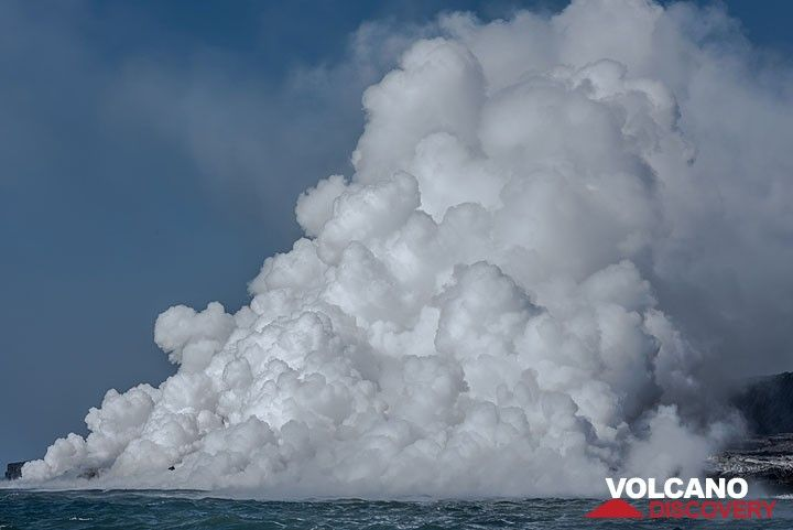 An impressive steam plume is rising from Kamokuna sea entry at Kilauea volcano, Hawai'i.