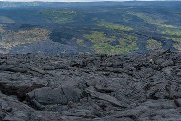 The western end of the vast lava flows from the ongoing Pu'u 'O'o east rift zone eruption (since 1983). Islands of older ground with vegetation surrounded by the younger, darker lava flows are called kipukas (Hawaiian word for island). (Photo: Tom Pfeiffer)